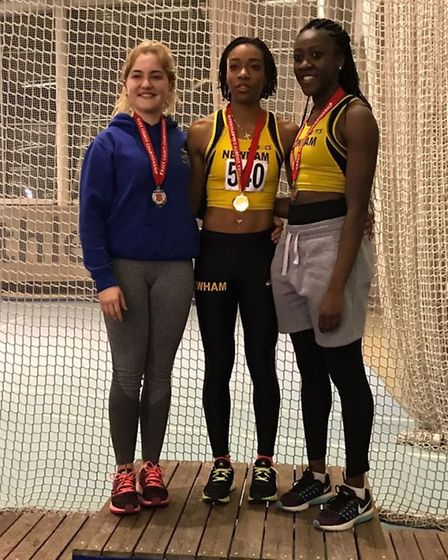 Havering's Lucy Bailey (left) on the podium with Newham & Essex Beagles Holly Thomas and Stephanie U