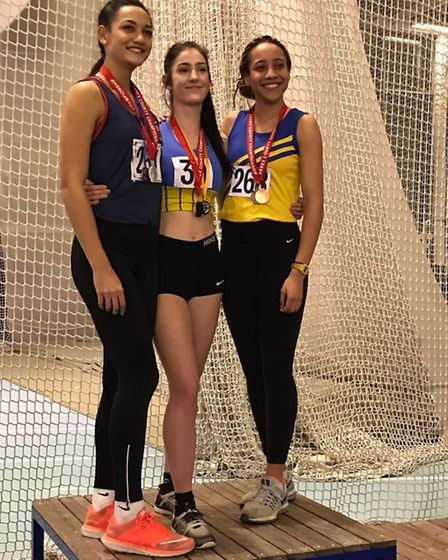 Havering's Mayi Hughes (right) on the podium with Jess Hopkins and Kiera Bainsfair (pic Debbie Baile