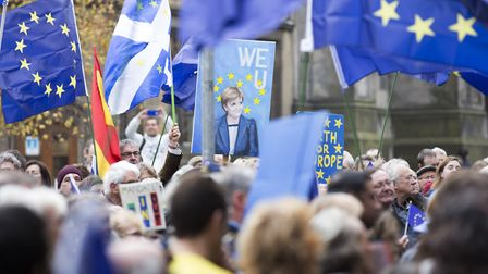 Not giving up: The Rally for Europe event on Edinburgh's Royal Mile, hosted by Mitch Benn. PHOTO: PA