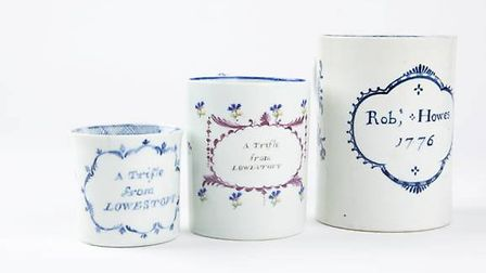 These three rare Lowestoft mugs are coming up for auction. Picture: FERINI MEDIA.