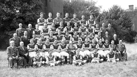 The West Ham United squad for the 1949-50 season. Charlie Paynter is on the far right of the fourth