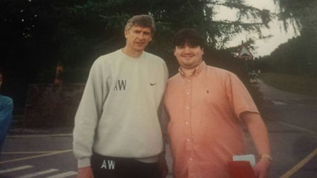 Barry with Arsenal manager Arsene Wenger.