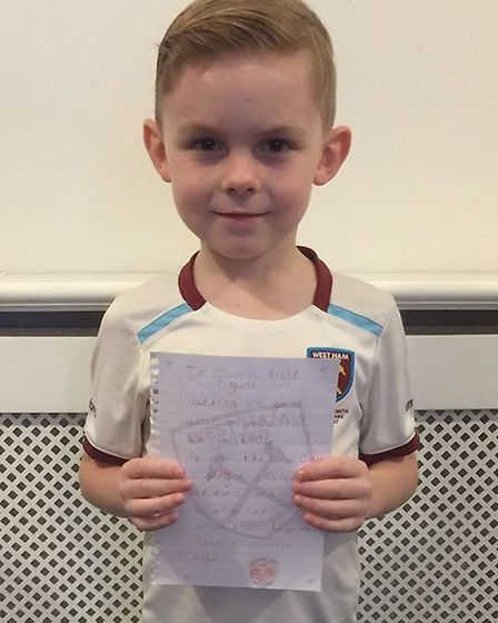 Alfie has written a letter to 'Super Slav' to say thank you.