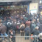 Picture of the crowds outside Ilford station this morning. Picture: @xXanderCx.