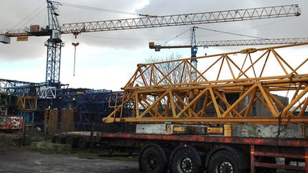 General View of the Falcon Crane Hire Ltd site at Shipdham Airfield Industrial Estate.