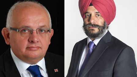 Leader of the Tories Cllr Paul Canal, left, and leader of the council Cllr Jas Athwal, right, traded