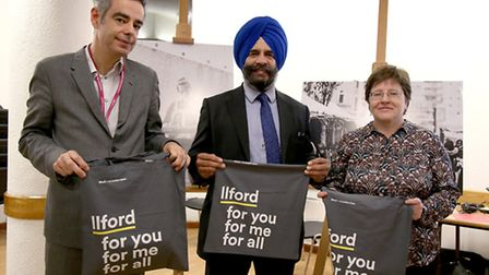 Redbridge Council chief executive Andy Donald, council leader Cllr Jas Athwal and cabinet member for