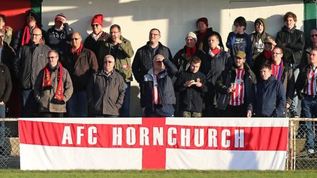 Hornchurch fans look on during the derby clash with Romford (pic Gavin Ellis/TGS Photo)