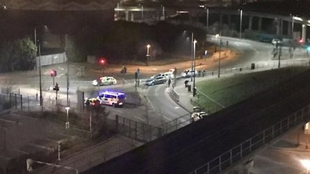 Emergency services outside the University of East London'�s Docklands campus where the stabbing took