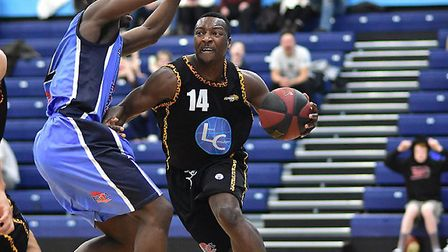 Justin Hitchman drives at the baseline for Essex Leopards against Derby (pic Paul Phillips)