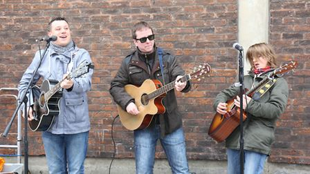 Romford Street Buskers. Josh Gleaves age 14 James Goulding, age 33 and Jayboy, age28