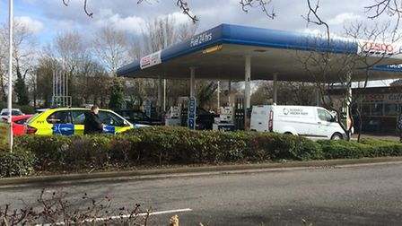 Police at Goodmayes Petrol Station this morning