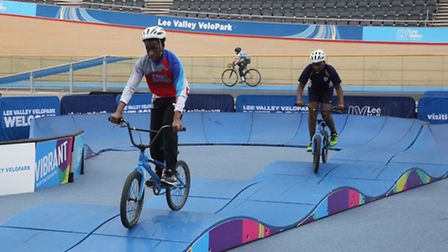 Chobham Academy students on the track at Lee Valley VeloPark