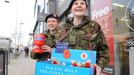 Royal British Legion Poppy Appeal collection in Lowestoft.Holly Gasson and Nina GrahamPicture: James