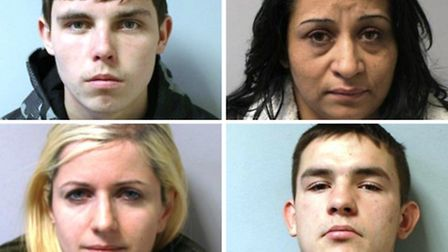 Fined (clockwise from top left): Zilvinas Stebas, 18, Olimpia Florina, 28, Karolis Stagos, 18, and