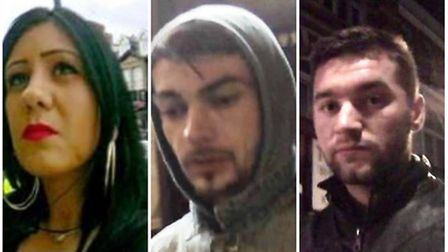 These three are wanted in connection with cards placed in Green Street, Barking Road and Romford R