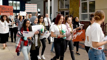 The march by students and teachers took place in the school grounds before finishing at the front of