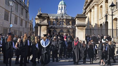 Students queueing for the matriculation ceremony at The Sheldonian which is part of Oxford Universit