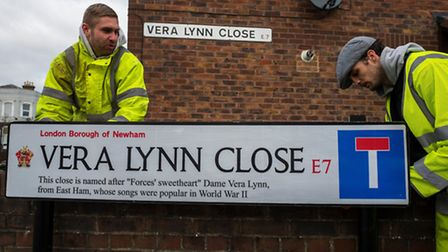 One of the signs put up to honour Dame Vera Lynn (Picture: Andrew Baker)