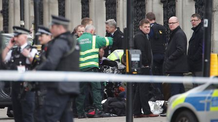 Emergency services close to the Palace of Westminster. PICTURE: Yui Mok/PA Wire