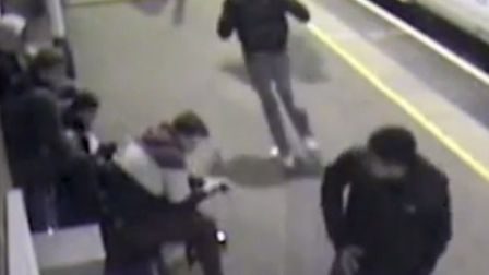 The scene of an acid attack at a train station. PIC BTP