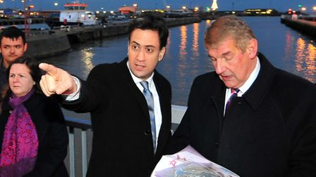 Labour Party Leader Ed Miliband pays a visit to Lowestoft to see the Towns Bascule bridge.Ed Miliban