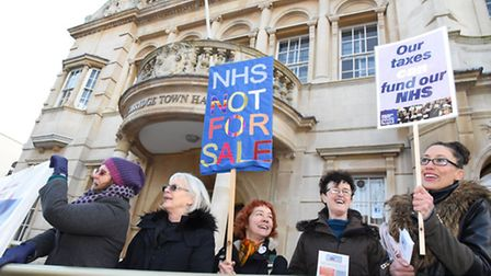 Public demonstration outside Redbridge Town Hall urging councillors to oppose the NHS's current sust