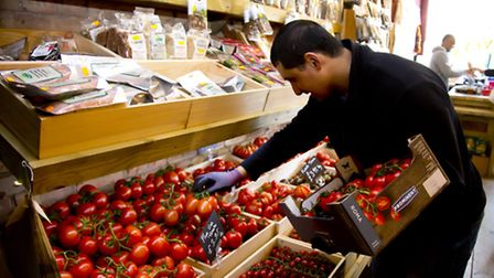 Harveys Fruit and Vegetable shop on Wanstead High Street. Employee Guray Marhmard. Picture by Ellie