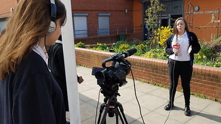 Eastlea Community School pupils film their school report (Picture: Ben Moss/Eastlea Community School