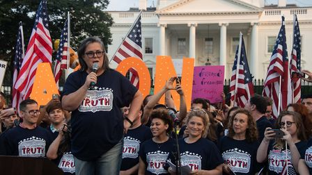 US comedian Rosie O'Donnell addresses a protest against US President Donald Trump in front of the Wh