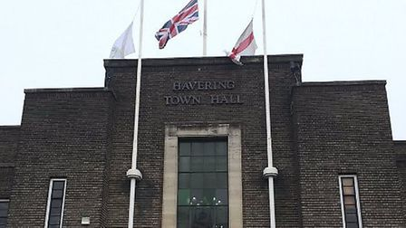 Flags flown at half mast over Havering Town hall pay tribute to the victims of the Westminster terro