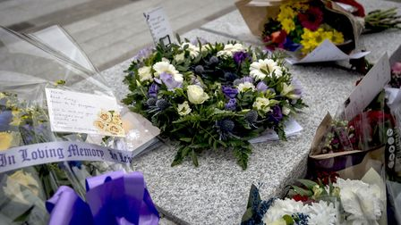 Floral tributes outside New Scotland Yard in London, following the terrorist attack on Wednesday (Pi