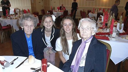 Gertrude Patten, far right, celebrating her 106th birthday. She is pictured, from left to right, wit