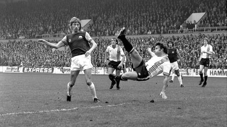 West Ham United's Alan Taylor watches his shot cleared off the line by Manchester United's Tommy Jac