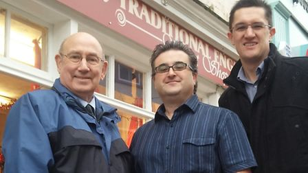 Salvinas co-owner Lawrence Stafrace (pictured centre) with Lowestoft Vision manager Darren Newman (r