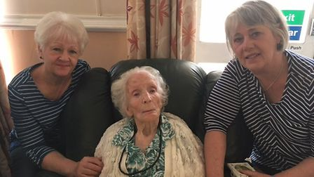 Louisa Alice Perris, 104, with daughters Doreen Chase, 68, left, and Valerie Clover, 71. Picture: A