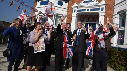 Andrew Rosindell MP celebrating with supporters the imminent triggering of Article 50 outside of Mar