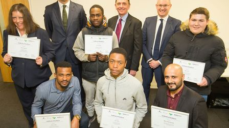 The award winners with Mayor of Newham, Sir Robin Wales, at Lloyds Bank Construction Skills Centre A