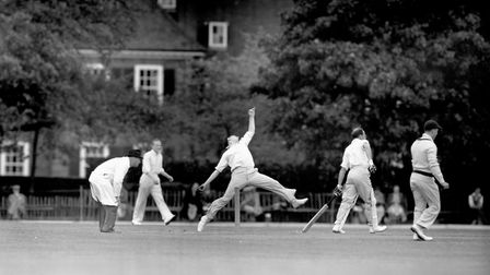 1951: Fred Trueman bowls for Yorkshire against Essex at Brentwood. Picture: PA