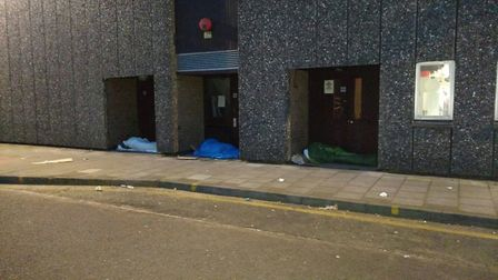 Rough sleepers at the Kenneth More Theatre (credit: Paul Canal)
