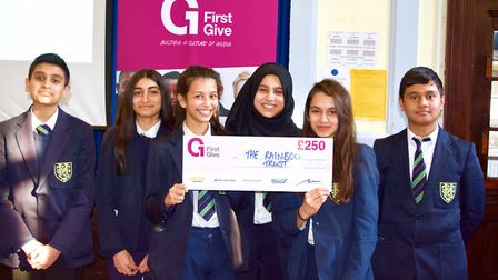 Valentines High School pupils who came third in the First Give competition, winning £250 for their c