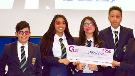 Valentines High School pupils who won £250 for their chosen charity Barnardo's, in the First Give pr