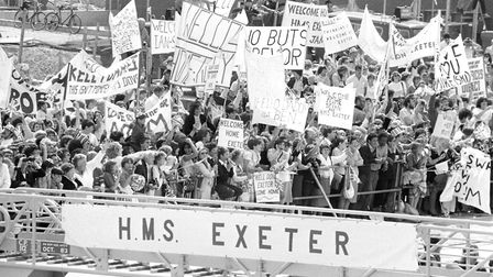Families waiting on the quayside to welcome HMS Exeter, Ron's ship, home from service in the Falklan