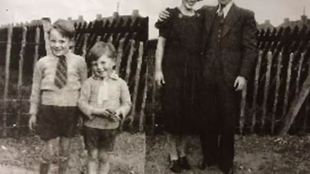 Derek Hall (second from the left) with his brother and parents by the crater in his back garden in H