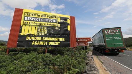 Anti Brexit billboards on the northern side of the border between Newry in Northern Ireland and Dund
