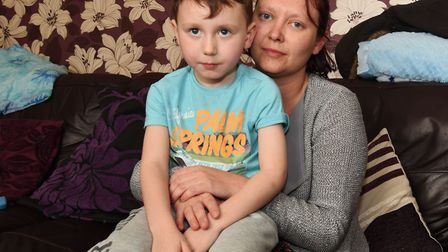 Carly Donnelly with her six year old son Brendan who was knocked down at the junction which only rec