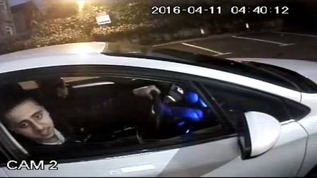 CCTV footage of Mahmood and Bux in a stolen car Picture: Met Police
