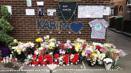 Floral tributes for Karim Simms. Picture: KEN MEARS