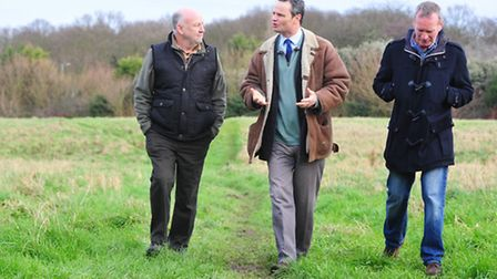 Waveney MP Peter Aldous visits the the new Pathway Care Farm In Lowestoft.Geoff Stevens and Rob Fore