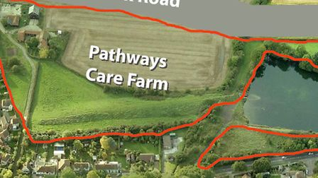 An aerial shot of the Pathways Care Farm site in Lowestoft, outline with respect to the new road lin